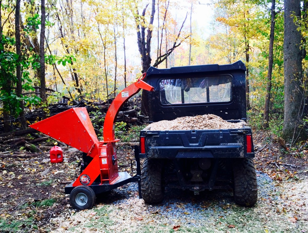 Making mulch wood chips with the DR Power Chipper and Ranger