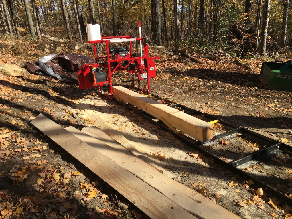 My first milled log is a 10 foot 8x8 of pine to become a bed for the mill